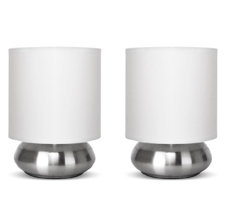 Pair of - Chrome Touch Table Lamps with White Shades