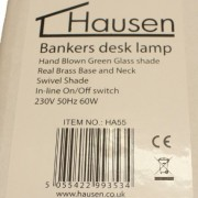Hausen 60W Bankers Desk Lamp Polished Brass with Green Glass Swivel Head