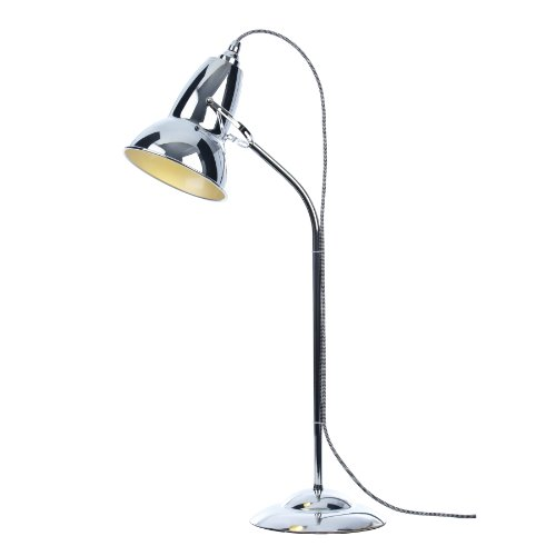 Anglepoise Duo Table Lamp, White/Black Cable Braid, Bright Chrome