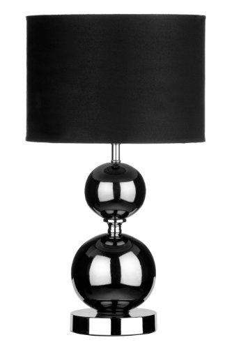 Premier Housewares Gunmetal Ceramic Ball Table Lamp with Fabric Shade - Black