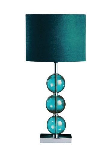 Premier Housewares Mistro Teal Table Lamp with 3 Glass Balls Chrome Base and Faux Suede Shade